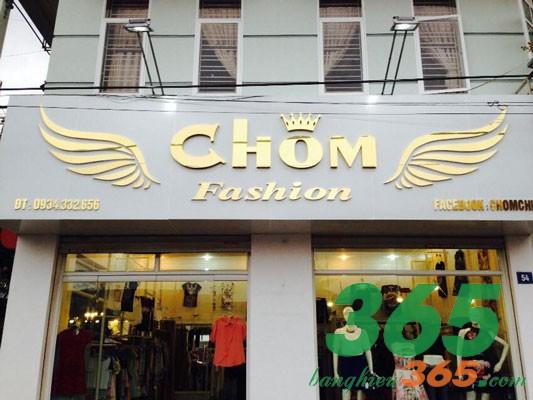 Biển hiệu shop quần áo chữ nổi inox vàng đẹp