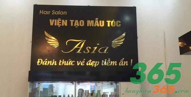 Mẫu bảng hiệu tóc chữ inox vàng gương sang trọng