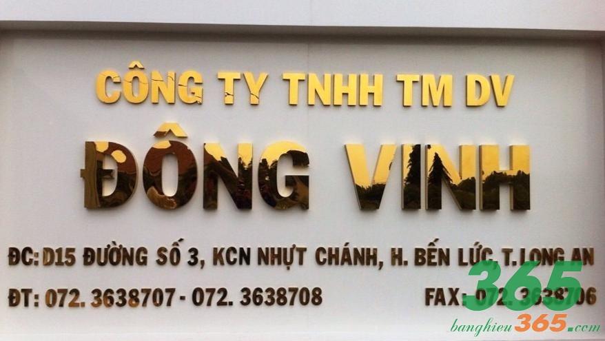 Biển hiệu công ty được cắt chữ nổi inox vàng gương sắc nét