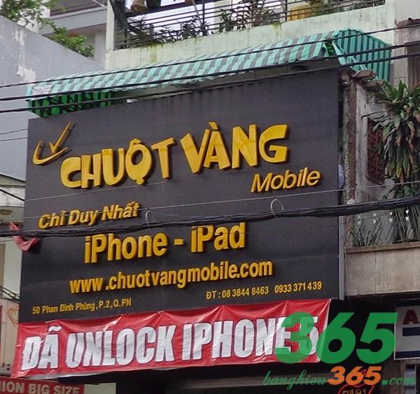 Biển hiệu cửa hàng điện thoại màu sắc độc đáo