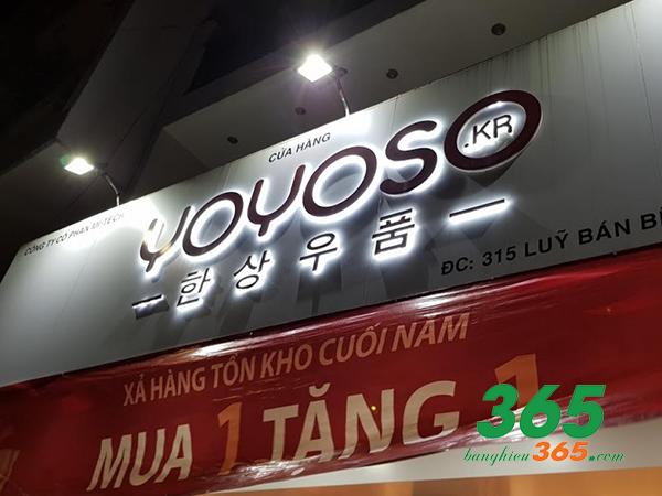 Bảng hiệu mica chữ nổi LED âm được các shop Hàn Quốc sử dụng nhiều