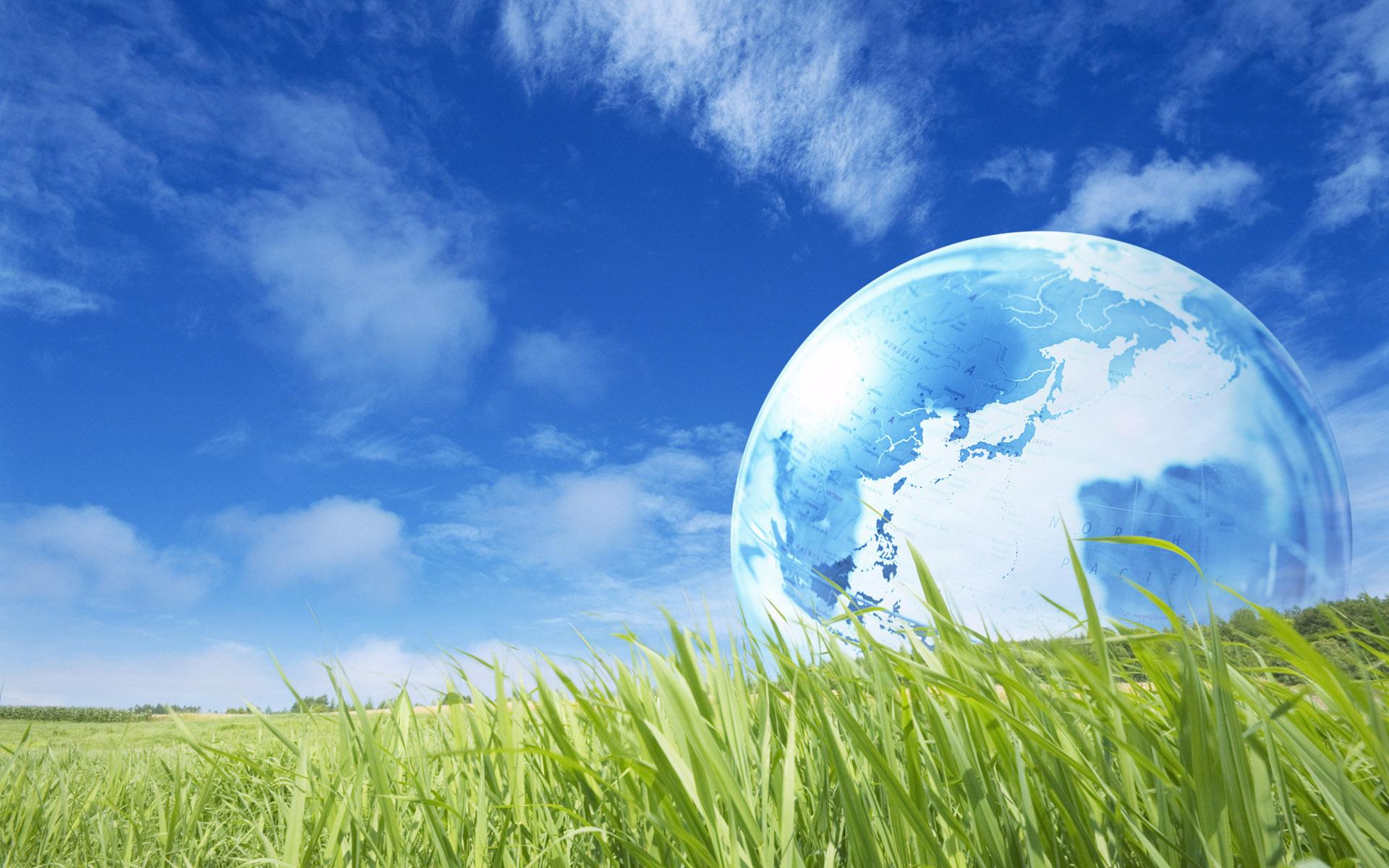 Màu xanh bầu trời hòa lẫn với sắc xanh của cỏ