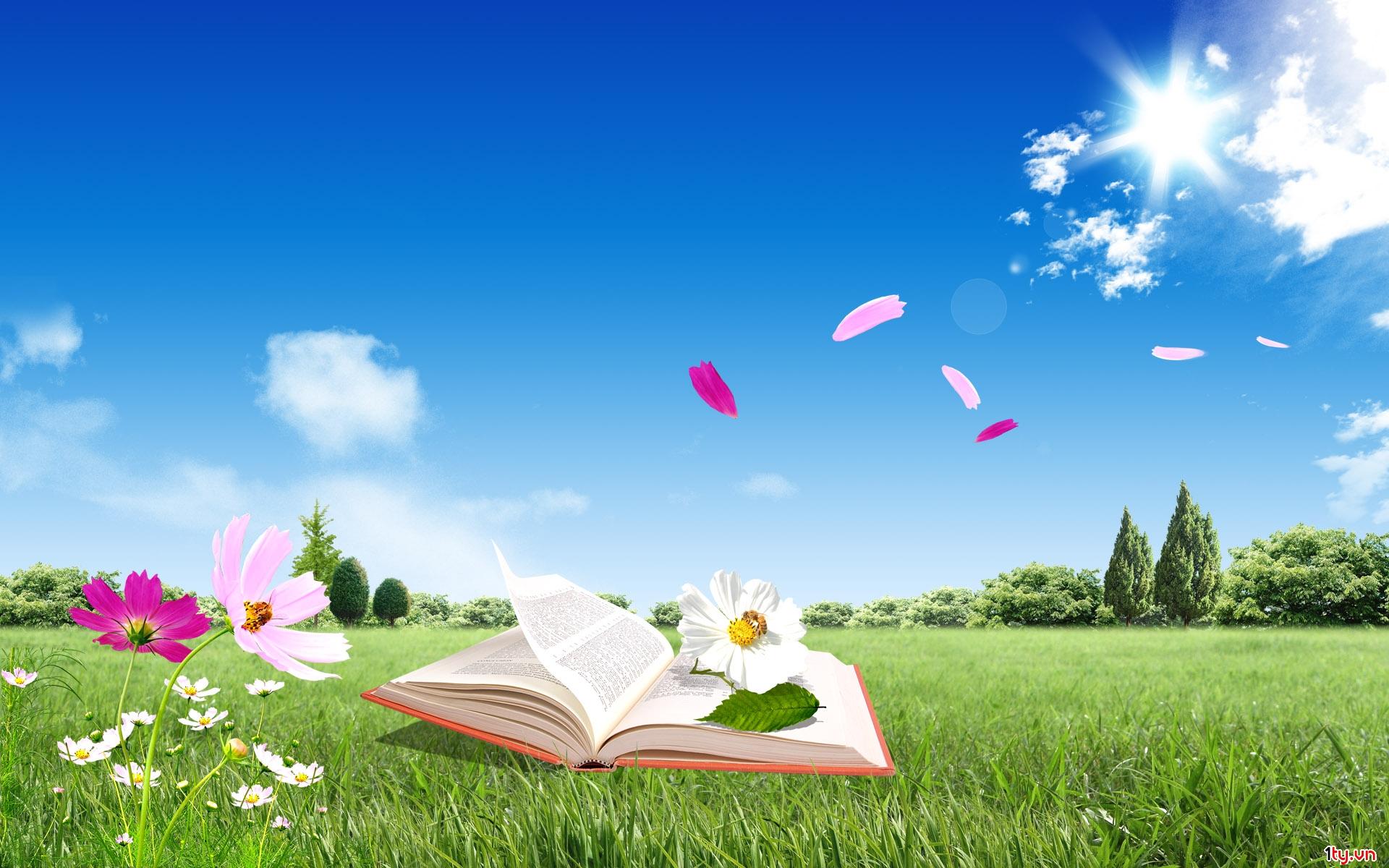 Phông nền màu xanh và cuốn sách mang lại giá trị đồ họa cao trong bức ảnh chủ đề nhà giáo VN